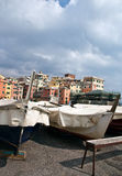 Italian Riviera village among the boats. Boccadasse is one of the most scenic locations in Genoa, where it remained unchanged atmosphere of the ancient village Royalty Free Stock Photo