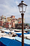 Italian Riviera village among the boats. Boccadasse is one of the most scenic locations in Genoa, where it remained unchanged atmosphere of the ancient village Royalty Free Stock Images
