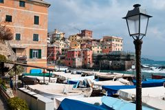 Italian Riviera village among the boats Stock Image