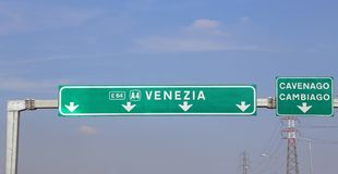 Italian Road Indication to Venice. In motorway stock photos