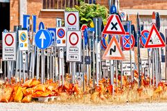 Italian road signs Stock Photos