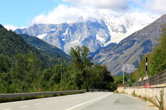 Italian road to the Little Saint Bernard Stock Images