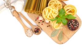 Italian rolled fresh fettuccine pasta Stock Image