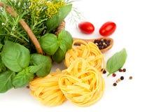 Italian rolled fresh fettuccine pasta Stock Photo