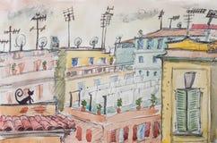 Italian roofs watercolor illustration Royalty Free Stock Photo