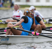 Italian rowers hug. BOSBAAN, AMSTERDAM - JULY 23: Valentina Calabrese and Giada Colombo (Italy's Women's Quadruple Sculls) hug after winning silver medal in the Royalty Free Stock Photo