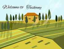 Italian rural landscape with fields and hills. Italian rural landscape with hills and fields Royalty Free Illustration