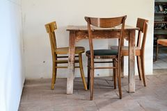 Italian rustic genuine table and chairs. Italy wooden cafe dining food drink Royalty Free Stock Images