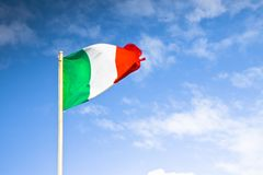 Italian's flag snatched stock photo