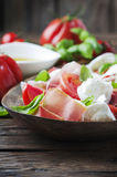 Italian salad caprese with prosciutto Royalty Free Stock Photography