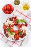 Italian salad with cherry tomatoes, cottage cheese, mint pesto Stock Image