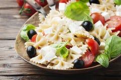 Italian Salad with cold pasta and mozzarella Royalty Free Stock Photo