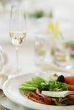 Italian salad with mozzarella cheese. Italian salad with mozzarella, cucumbers, red peppers and black olives Stock Photography