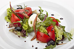 Italian salad with mozzarella cheese and tomato Royalty Free Stock Photography