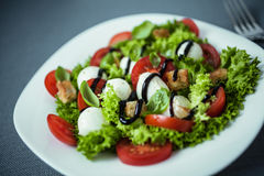 Italian salad with mozzarella pearls Royalty Free Stock Photos
