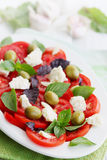 Italian salad with tomato goat cheese Royalty Free Stock Photography
