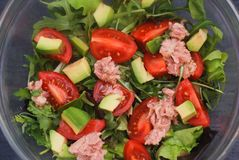 Italian Salad from Tomatoes, Rucola, Grated parmesan Cheese, Olive Oil, Olives, Tuna, on White Plate. Top View. royalty free stock image