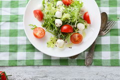 Italian salad with tomatoes on white plate. Above Royalty Free Stock Images
