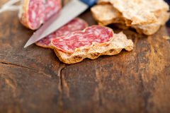 Italian salame pressato pressed slicing Royalty Free Stock Photos