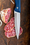 Italian salame pressato pressed slicing Royalty Free Stock Images