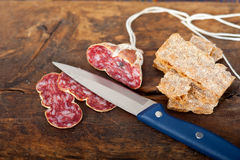 Italian salame pressato pressed slicing Stock Photo