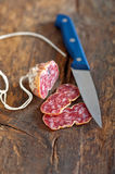 Italian salame pressato pressed slicing Stock Images