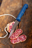 Italian salame pressato pressed slicing Royalty Free Stock Photo