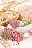 Italian Salami and Bread Royalty Free Stock Photo