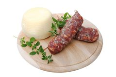 Italian salami and cheese Stock Photos