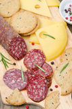 Italian salami, cheese and crackers on a cutting board Royalty Free Stock Images