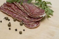 Italian salami with pepper Royalty Free Stock Photo