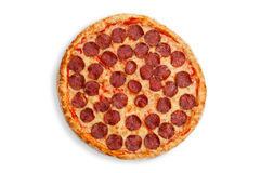 Italian salami pizza Stock Photos