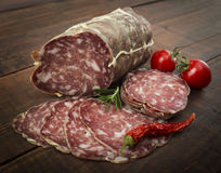 Italian salami with red pepper cherry tomatoes Stock Image