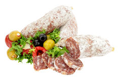 Italian Salami Sausages With Olives And Peppers Stock Photo