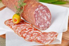 Italian Salami sliced Royalty Free Stock Image
