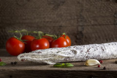 Italian salami with spices Royalty Free Stock Photos