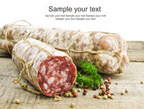 Italian salami. On a white background Stock Image
