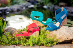 Italian sandals, platform shoes. A Royalty Free Stock Image