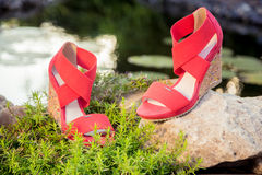 Italian sandals, platform shoes. A Royalty Free Stock Photography