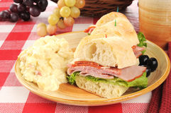 Italian sandwich with potato salad Royalty Free Stock Images