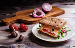 Italian sandwich. With red onion, cherry tomatoes, green salad, ham and cheese Stock Images