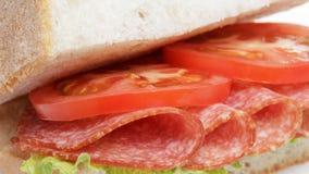 Italian sandwich with salami Royalty Free Stock Photo