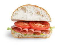 Italian sandwich with salami Royalty Free Stock Photography