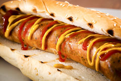 Italian Sausage on a Bun.  Stock Photos