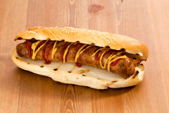 Italian Sausage on a Bun.  Stock Photo