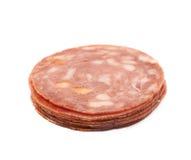 Italian sausage salame napoli isolated Stock Photography