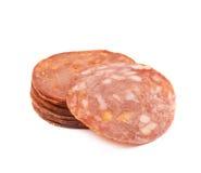 Italian sausage salame napoli isolated Royalty Free Stock Image