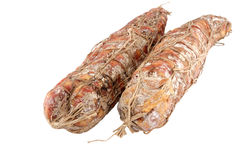 Italian sausage of a salami Royalty Free Stock Image