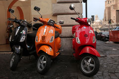 Italian scooters Vespa in Rome, Italy. Stock Images
