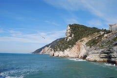 Italian sea. Blue sky, rocks and sea-gull Royalty Free Stock Images